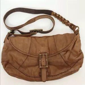 Lucky Brand Leather Hobo Crossbody Purse Boho